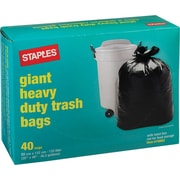 "Staples® Giant Garbage Bags, Black, 35"" x 48"", 40-Pack"