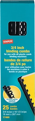 Staples Plastic Comb Binding Spines, 3/4