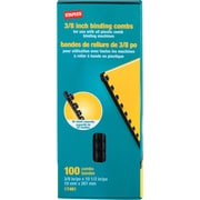 "Staples Black Plastic Comb Binding Spines, 3/8"" Diameter, 55 Sheets, 100/Pack (17461)"