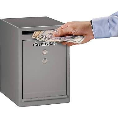 SentrySafe® - Coffre-fort de sécurité avec fente de dépôt à placer sous le comptoir, gris