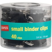 "Staples® Binder Clips, 3/4"" Size, Small, 3/8"" Capacity, Black, 40/Pk, 96 Packs/Ct"