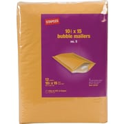 "Staples® QuickStrip™ Bubble Mailers, #5, 10 1/2"" x 15"""