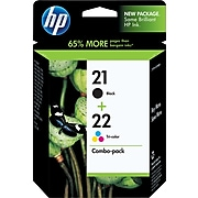 HP 21/22 Black/Tri-Color Standard Yield Ink Cartridge, 2/Pack (C9509FN#140)