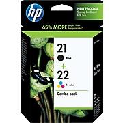 HP 21/22 Black/Tri-Color Standard Yield Ink Cartridge, 2/Pack (C9509FN#140)