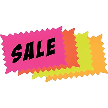 Cosco® Write-On Flourescent Paper Signs, 6-3/8