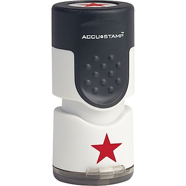Accu-Stamp® Round Pre-Inked Stamps, Star, Red