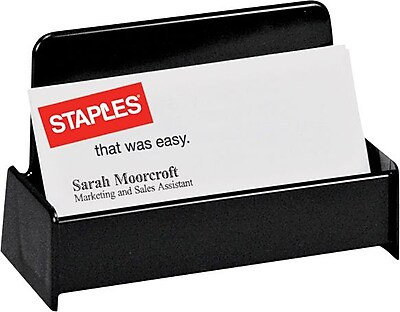 Staples Black Plastic Desk Collection Recycled Business Card