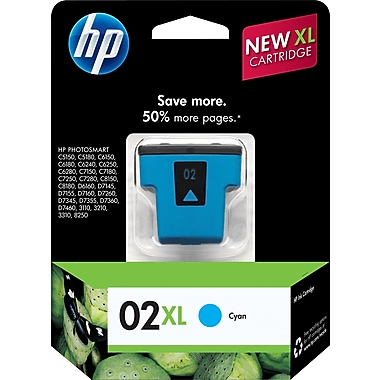 HP 02XL Cyan Ink Cartridge (C8730WN), High Yield