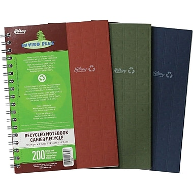 Hilroy - Cahier de notes Enviro-Plus, 9-1/2 po x 6 po, variés, 200 pages