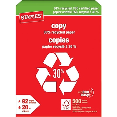 Staples® 30% Recycled FSC-Certified Copy Paper, 20 lb., 8-1/2