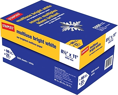 Staples® Bright White Multipurpose Paper, 22 Lb., 98 Bright, 8 1/2