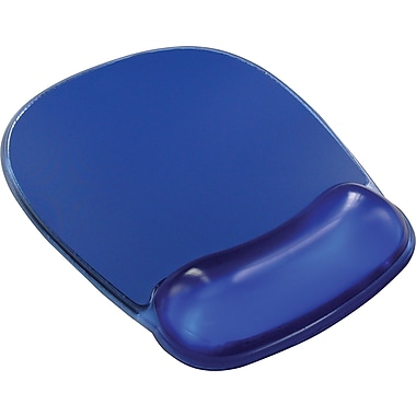 Staples 174 Mouse Pad With Gel Wrist Rest Blue Crystal