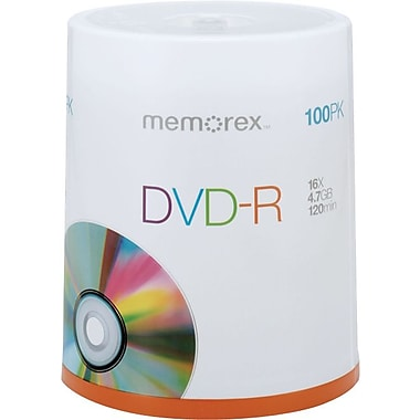 Memorex 4.7GB DVD-R, 100/Pack
