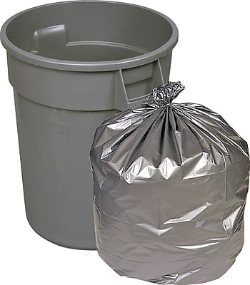 Brighton Professional, Trash Bags, 55-60 Gallon, 39x57, Low Density, 1.7 Mil, Silver, 50 CT
