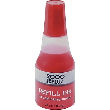 2000PLUS® Self-Inking Stamp Refill Ink, Red, 0.9 oz., 24/Pack