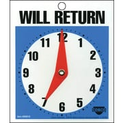 """Will Return Clock/Business Hours Open Sign, 6x5"""""""