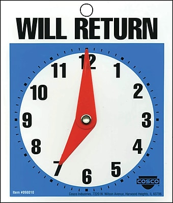 Will Return Clock/Business Hours Open Sign, 6x5