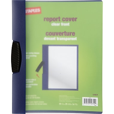 Staples® Swing-Lock Report Cover, Clear with Dark Blue Spine. 5/Pack