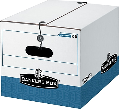 Bankers Box Stor/File Medium-Duty FastFold Storage Boxes with String & Button, Letter/Legal, 12/Ct (0002504)