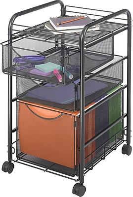 Safco Onyx Mesh File Cart with 1 File Drawer and 2 Small Drawers, Black (5213)