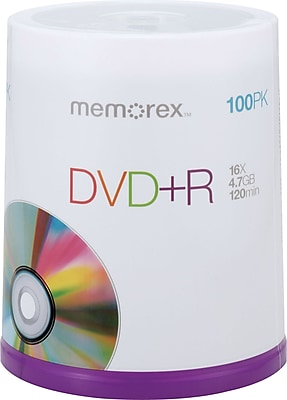 Memorex 4.7GB DVD+R, 100/Pack