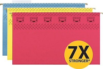 Smead® TUFF® Hanging File Folders With Easy Slide™ Tab, Assorted Colors, Legal,, Holds 8 1/2