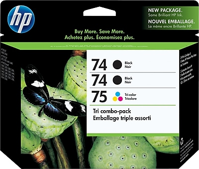 HP 74/74/75 Black and Tricolor Ink Cartridges (CD976FN), Combo 3/Pack