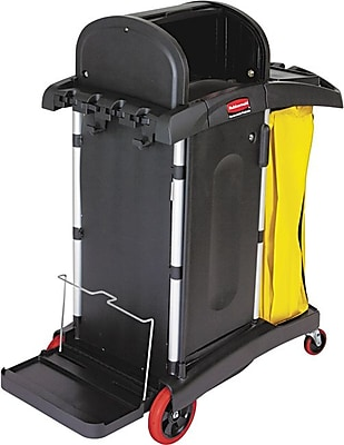 Rubbermaid High-Security Healthcare Cleaning Cart, Black, 53 1/2