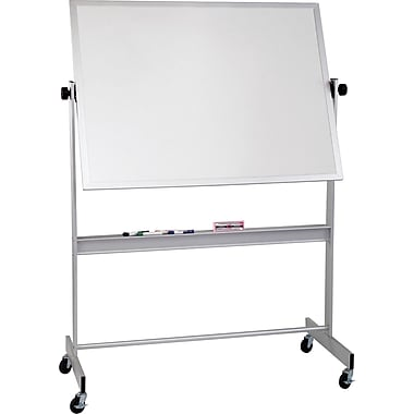 Best-Rite Deluxe Reversible Board, Dry Erase Whiteboard and Cork Board Presentation Easel, Silver Frame, 5'W x 4'H