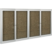 Best-Rite 2-Door Enclosed Bulletin Board, Tan Recycled Rubber-Tak® Panel / Aluminum Frame, 6'W x 4'H