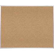Ghent Natural Cork Bulletin Board with Aluminum Frame, 4'H x 6'W