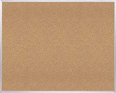 Ghent Natural Cork Bulletin Board with Aluminum Frame, 4'H x 8'W