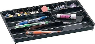 Staples Black Plastic Desk Collection (Recycled) Drawer Organizer (DPS03573)