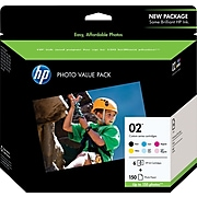 HP 02 Black/Cyan/Light Cyan/Magenta/Light Magenta/Yellow Standard Yield Ink Cartridge, 6/Pack (Q7964AN#140)