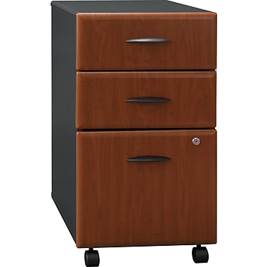 Bush Business Cubix 3-Drawer Mobile Pedestal, Hansen Cherry/Galaxy, Pre-Assembled