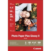 Canon® PP-201 Photo Paper Plus II, 4x6, Glossy, 100/Pack