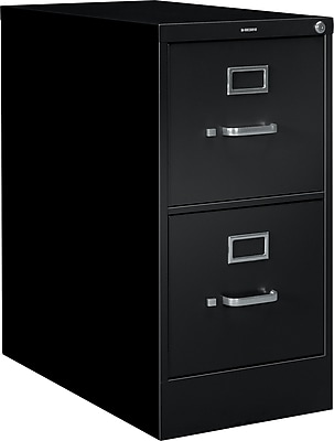 HON® S380 Series 2 Drawer Vertical File Cabinet, Black, Letter, 26