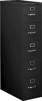 HON® 210 Series 5 Drawer Vertical File Cabinet with Lock, Black, Letter, 28