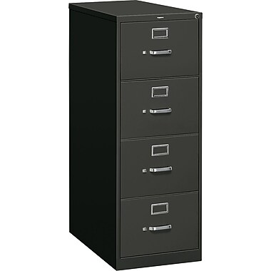 HON 310 Series Vertical File Cabinet, Legal, 4-Drawer, Black, 26 1/2