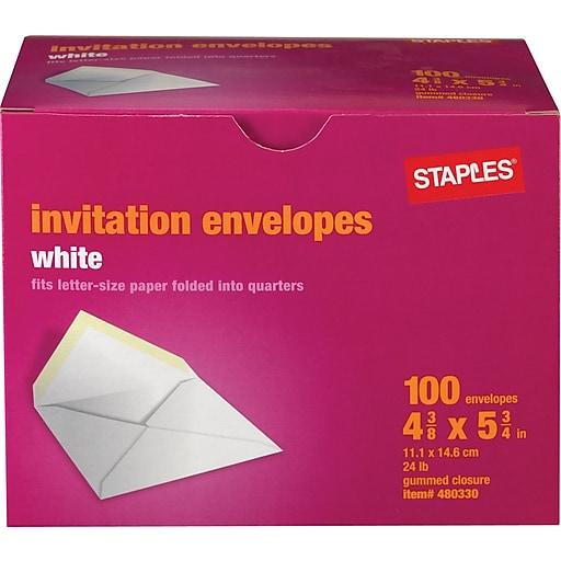 staples invitation envelopes with gummed closure white 100 box