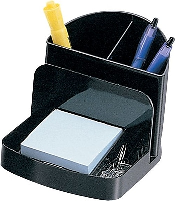 Staples Black Recycled Plastic Desk Collection, Deluxe Desk Organizer