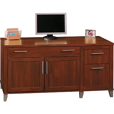 bush furniture somerset 60w computer credenza hansen cherry wc81729k - Bush Furniture