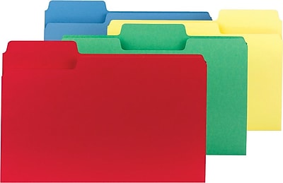 Smead SuperTab® Colored Folders, Assorted, LEGAL-size holds 8 1/2