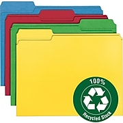 Smead 100% Recycled File Folder, Reinforced 1/3-Cut Tab, Letter Size, Assorted Colors, 100 per Box (12008)