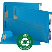 Smead 100% Recycled End Tab Fastener File Folder, Reinforced Straight-Cut Tab, 2 Fasteners, Blue (34170)
