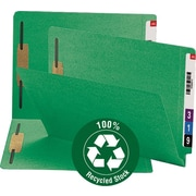 Smead 100% Recycled End Tab Fastener File Folder, Reinforced Straight-Cut Tab, 2 Fasteners, Green (34172)