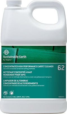 Sustainable Earth® by Staples® #62 Floor Care High Performance Carpet Cleaner, 1 Gallon, 4/Ct