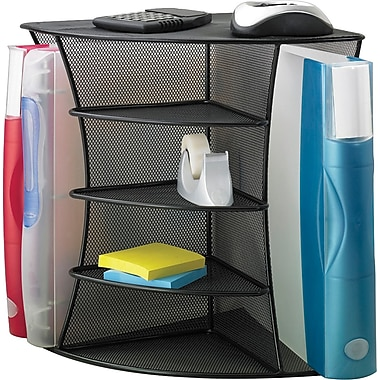 Safco Mesh Corner Organizer, Black with Rounded Edges (3261BL)