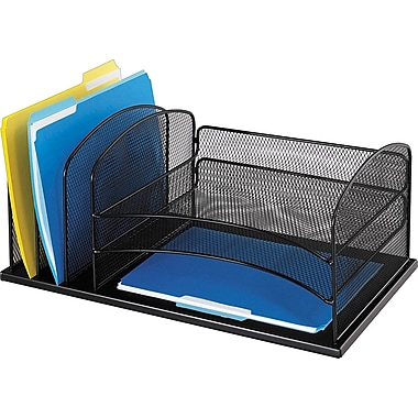 Safco® Onyx Metal Mesh 3-Horizontal/3-Upright Section Organizer, Black, 8.25