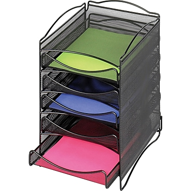 Safco® Onyx Steel Desktop, 5-Drawer Organizer